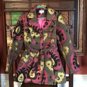 3 Sisters Jacket Fall Colors w/Pink lining EUC